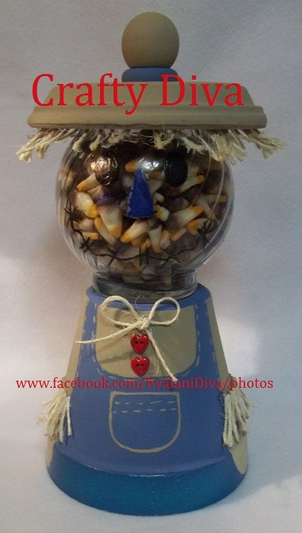 Terracotta Pot; Christmas Scarecrow candy Bowl