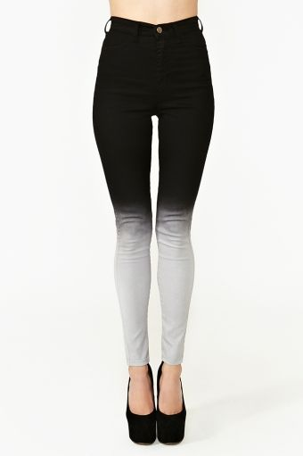 Fade Out Skinny Jeans - ombre bleach fade dip dye black white gray            needs to be done