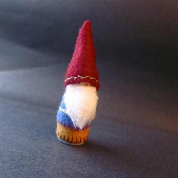 Red, Blue, and Mustard Yellow Felt Wood Peg Gnome Doll with Sage Green and Red Embroidery -- by WondercakeDesigns on Etsy [adorable!!]