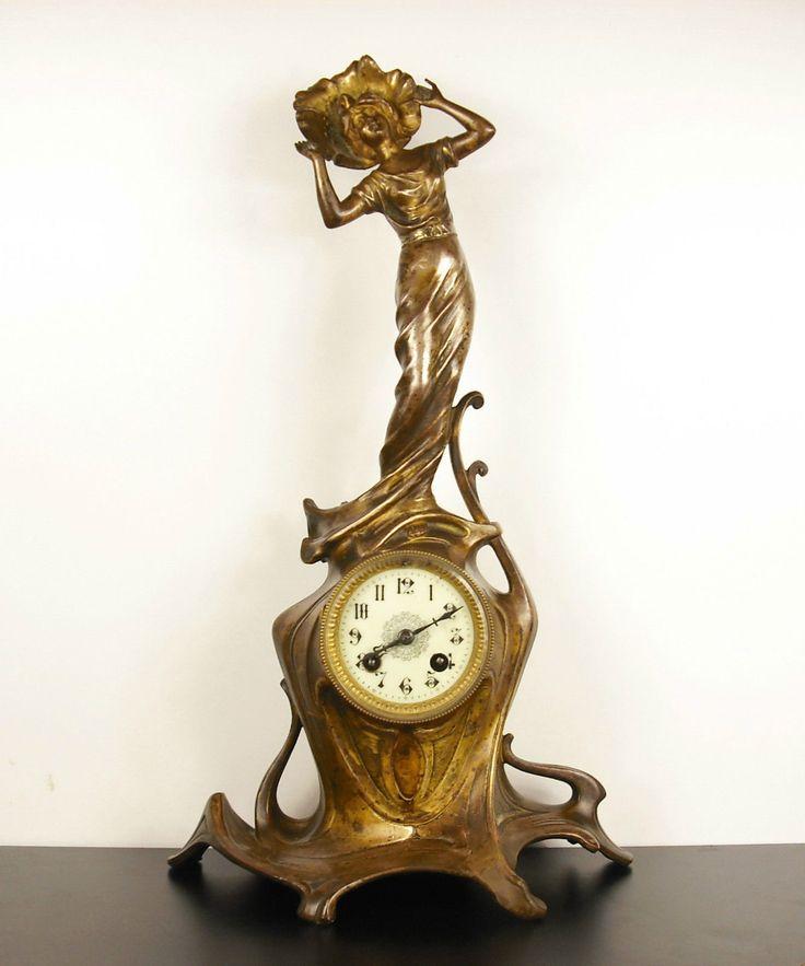 Aristide DE RANIERI Pendule art nouveau pendolo Italia 1900 Raudery H:50cm clock | eBay