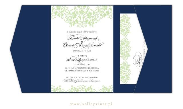 Zaproszenia  ślubne w kolorze pistacjowym
