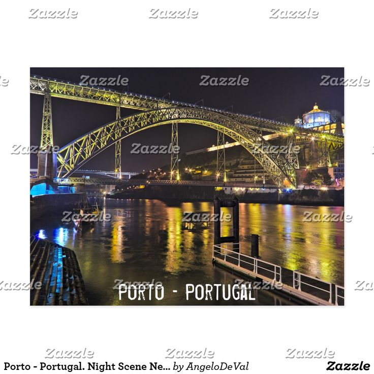 Porto - Portugal. Night Scene Near Douro River Postcard