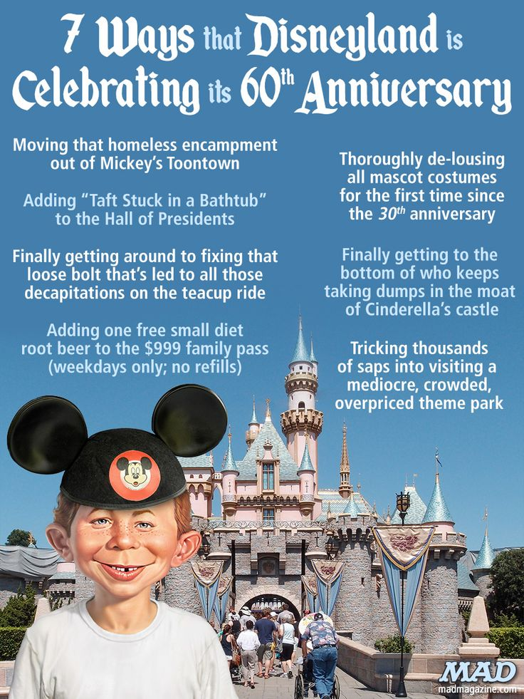 Mad magazine 7 ways that disneyland is celebrating its for Anniversary magazine