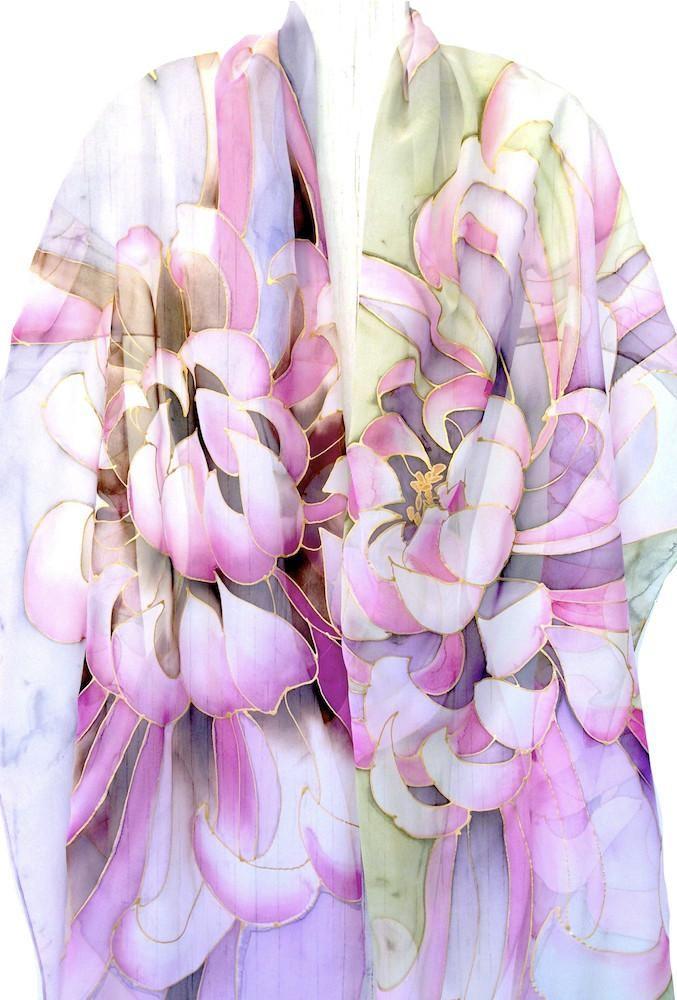 Silk Shawl, Pink and Green Chrysanthemum