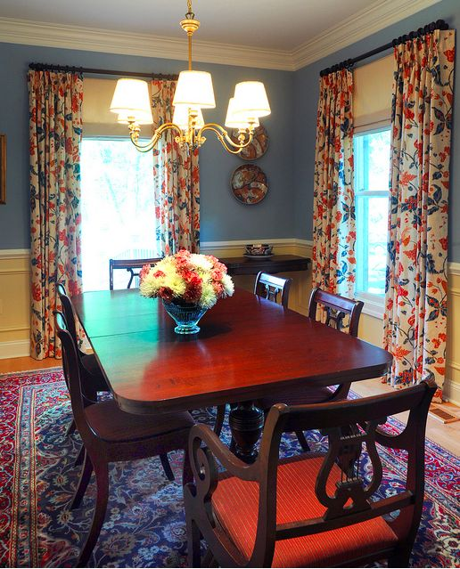 Classic Blue Dining Room Schumacher Curtains Oriental Rug Photo By Michael K