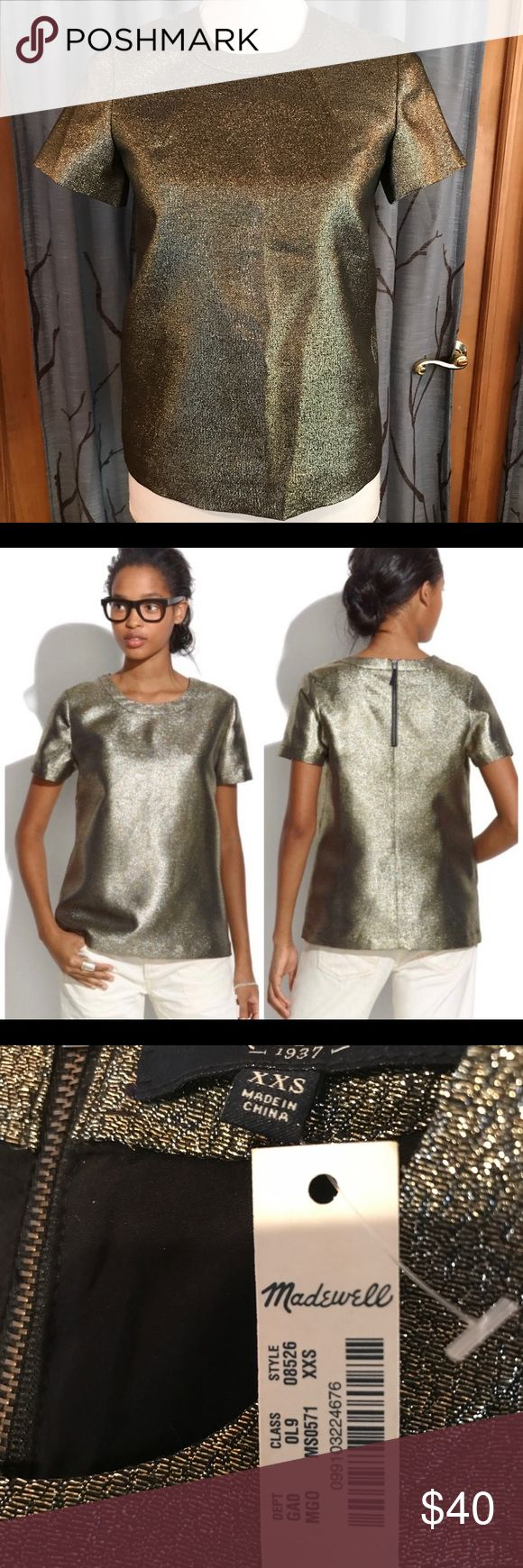 NWT. Madewell XXS Shimmer tee gold metallic NWT. Madewell size xxs Shimmer Tee. Rich gold Shimmer in a slightly boxy shape. A no brainer for holiday dressing. Tassled zipper closure at nape of neck, pullover top Madewell Tops