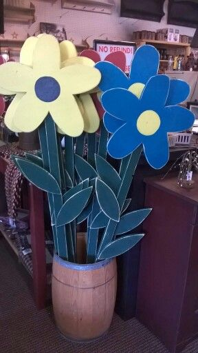 Tall rustic wood craft flower for outdoors yard craft