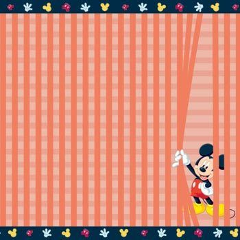 Disney Mickey Mouse & Friends Collection Mickey Mouse Behind The Curtain 12 x 12 Scrapbook Paper by Sandylion