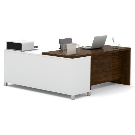 Bestar Pro-Linea L-Desk, White & Oak Barrel, Multicolor