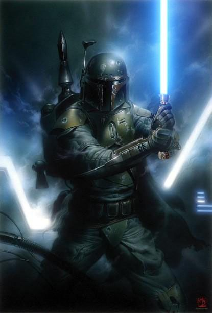 Boba Fett with a lightsaber?! Originally this image was the cover of the Dark Horse comic book, Boba Fett - Man With A Mission. Deviant art user, Eruantien-Fett, decided it wasn't bad-ass enough so they photoshopped a lightsaber into his hands.