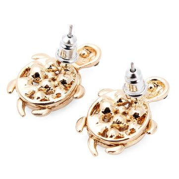 Gold Plated Cute Little Turtle Crystal Stud Earrings For Women at Banggood