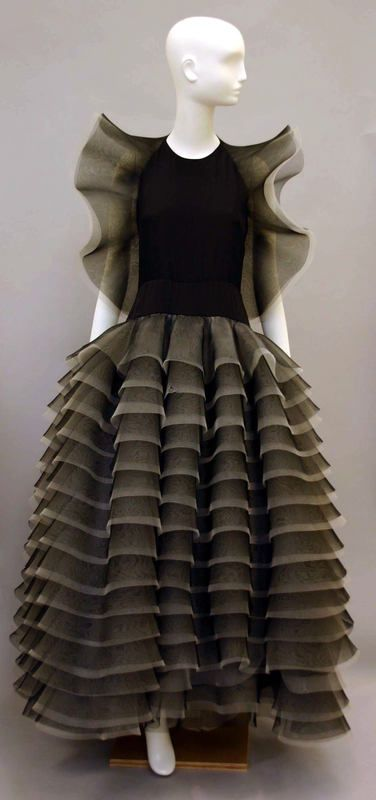 Evening Dress Pierre Cardin (French) ca. 1984 horsehair, synthetic