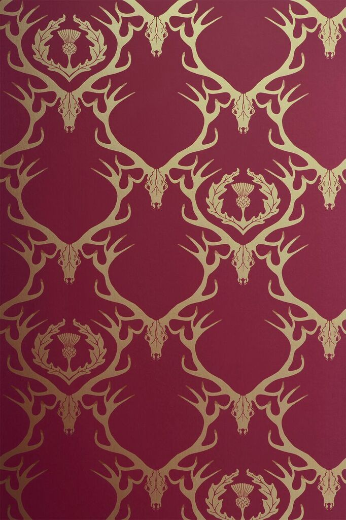 Stag heads are printed on this wallpaper with a damask repeat, making a really interesting pattern. This wallpaper is very casual and homey, and looks great in all rooms, with each color bringing its