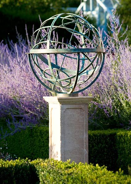 Bronze armillary sphere garden sundial (David Harber)