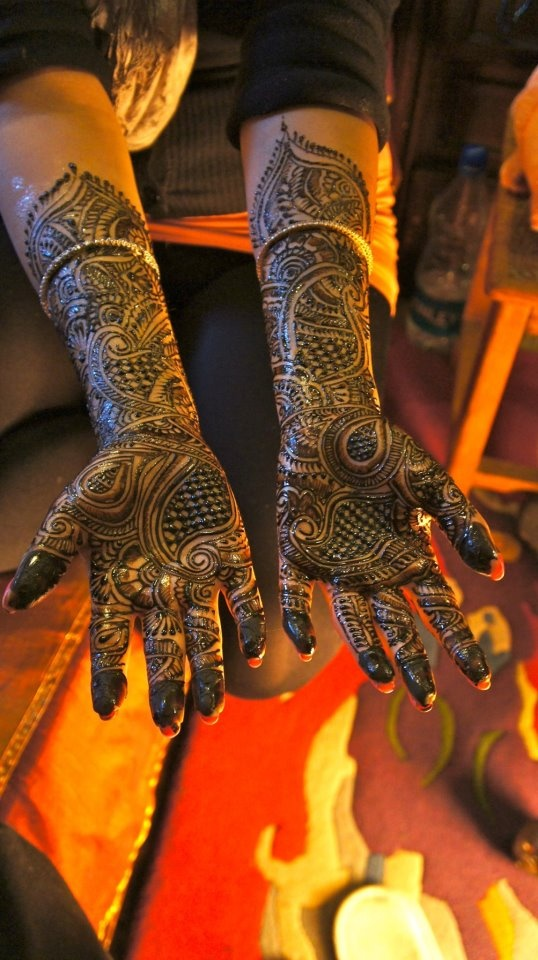 Mehandi on my hands. I love it. Get it done everytime I go to India.
