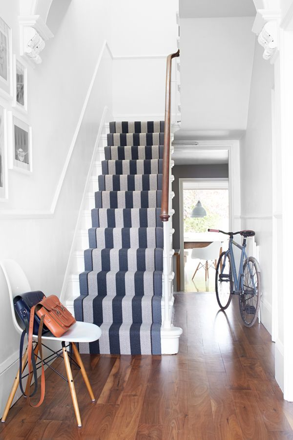 Gorgeous blue and white striped stair runner www.aftershocksinteriordecorating.com