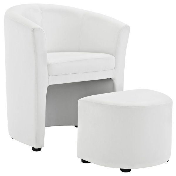 Round out your favorite seating group in contemporary flair with this two-piece barrel chair and ottoman set, a sophisticated addition to your space. Its solid color pattern pairs perfectly with both monochromatic and vibrant palettes, while its understated design blends effortlessly into any casual aesthetic. Add it to the living room to complement a crisp and streamlined seating group, then pair it with a glass and metal coffee table for a refined touch. Round out the look by accenting the…