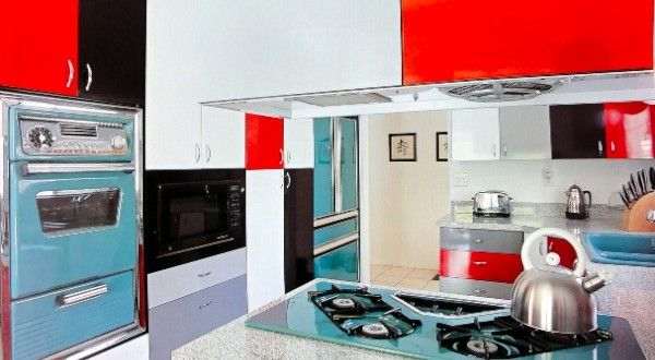 Love the colors and angled stove top burners