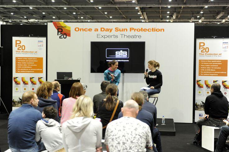 Triathlete Helen Jenkins taking part in a Q&A with Triathlon Plus editor Liz Hufton