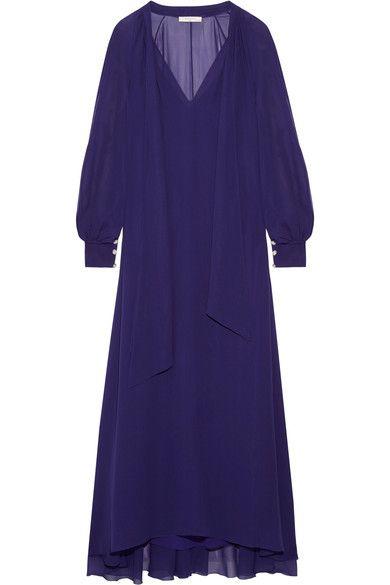 Lanvin - Pussy-bow Silk-chiffon Maxi Dress - Indigo - FR