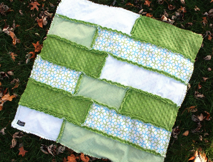 Modern Green Baby Rag Quilt - Flannel and Minky. $68.00, via Etsy.