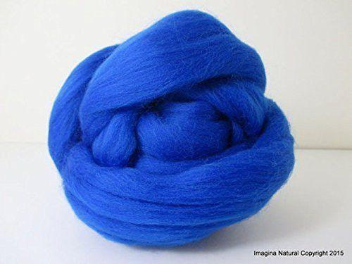 Free Shipping Blue Handmade Merino Roving Wool Hand Spinning Felting Fibre Araucania Craft Art Chilean Knitting Chunky 18 Microns