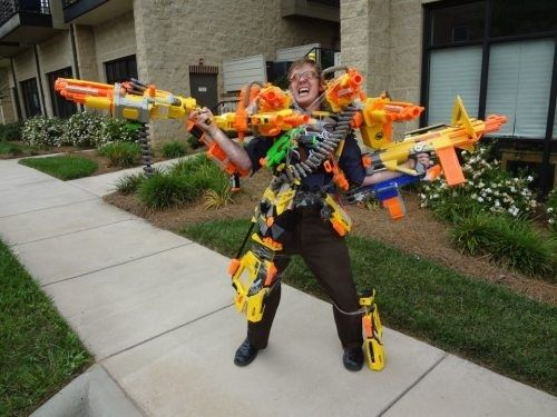 This guy is so over nerf guns not being an acceptable accessory.
