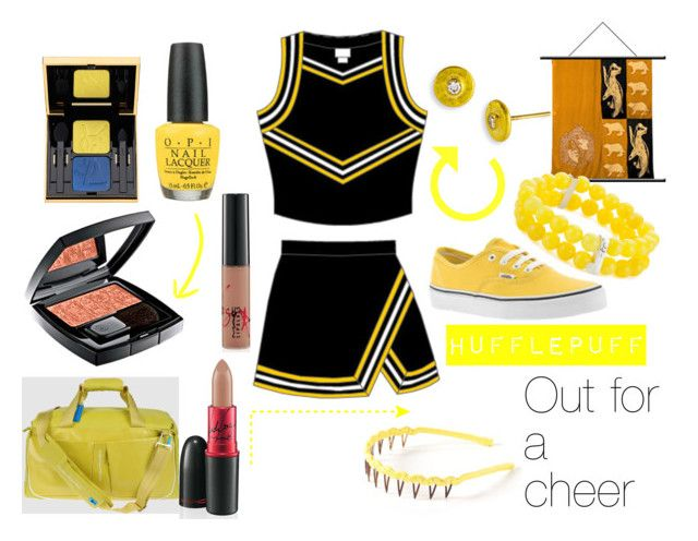 """""""Hufflepuff, CHEERLEADING"""" by can-i-slytherin ❤ liked on Polyvore featuring Vans, Piquadro, L. Erickson, Kenneth Cole, Gurhan, OPI, Chanel, Yves Saint Laurent, MAC Cosmetics and mac"""
