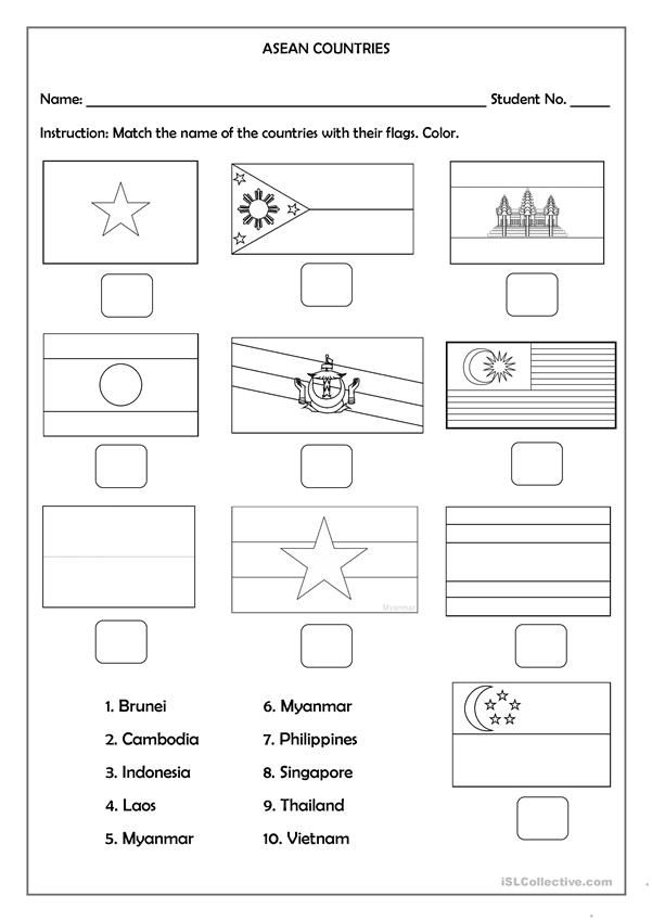 Asean Flag Coloring World Map Tattoos Flag Countries And Flags