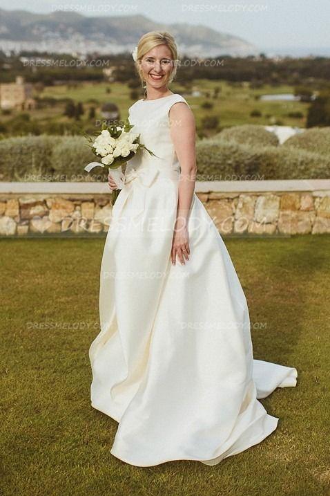 bb2623fb92 Chic Bow-knot Bateau Neck Cap Sleeves Long Solid Wedding Dress ...