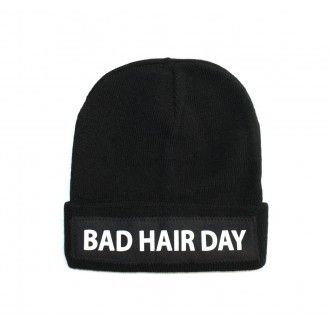 Bad Hair Day Black Fold Over Winter Hat