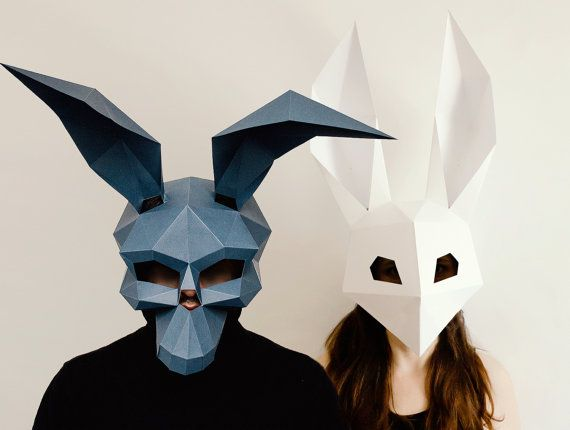 Make your own Donnie Darko Mask, Low Poly Rabbit Mask,  Instant Pdf download, DIY Halloween Mask, Printable Mask,  DIY Polygon Masks
