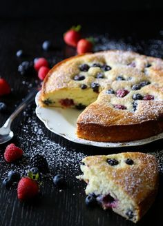 easy ricotta cake with fresh berries www.climbinggriermountain.com                                                                                                                                                                                 More