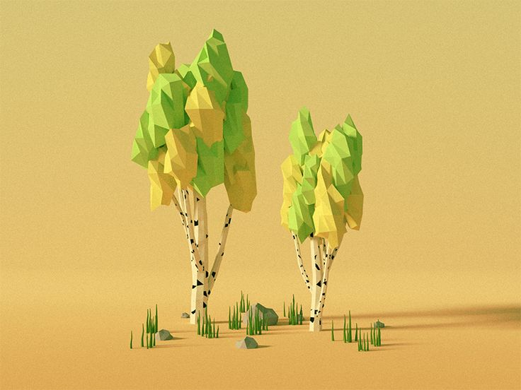 Low Poly Spring Trees (Birch) More