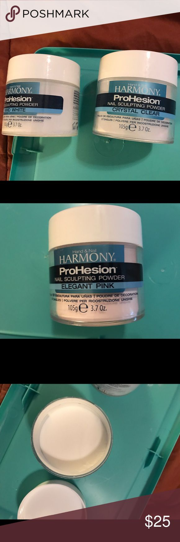 Harmony ProHesion Acrylic Nail Powder Bundle Pink and white powders new never used. Clear used some but a lot of product available, approximately 90-95%. See third photo. Harmony Other