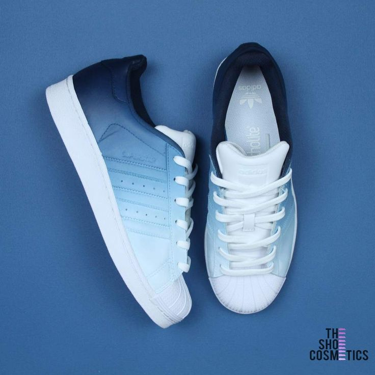Navy blue ombre adidas superstar custom shoes