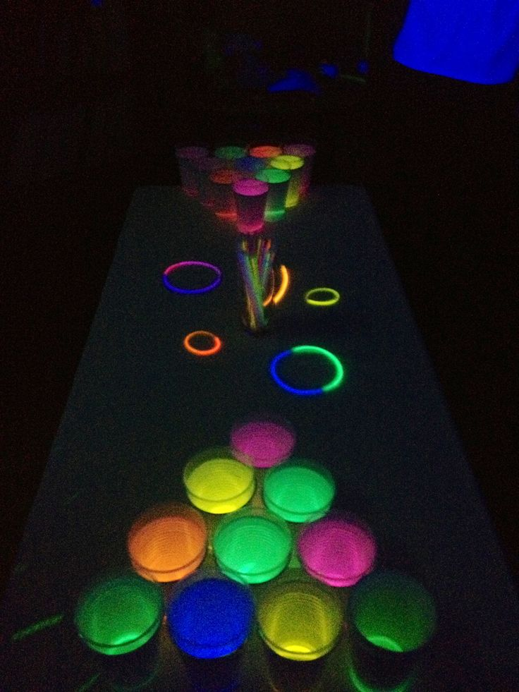Glow in the dark beer pong! Take any color solo cup, wrap a glow stick in the bottom, top with a clear solo cup and fill with the liquor of your choice!