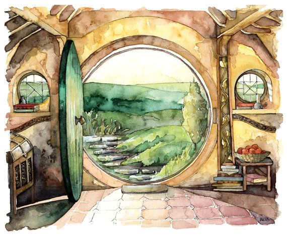 This is a fine art giclée print made from my original watercolor painting. In a hole in the ground there lived a Hobbit. Not a nasty,