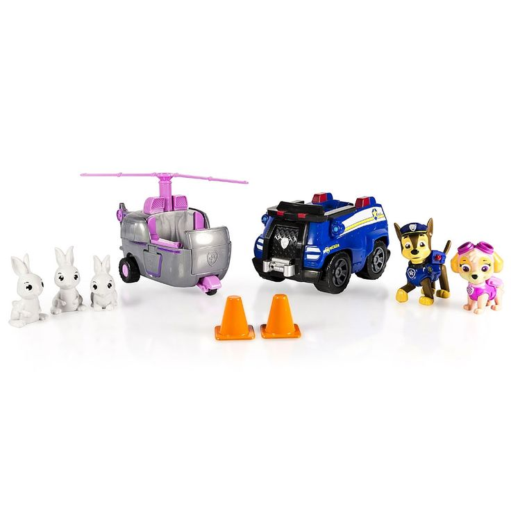 Only available at Toys R Us! No job it too big, no pup is too small! Welcome to the Paw Patrol Adventure Bay Rescue! Now kids can help Chase and Skye rescue their bunny friends. The Animal Rescue includes Chase and Skye and their vehicles plus 3 Bunny figures! Chase is on the case keeping his K9 skills sharp as he gives a bunny a lift back to the meadow on his cruiser. Skye swoops into the rescue scene with her chopper and flies the rest of the bunnies back to safety. With the Paw Patrol…