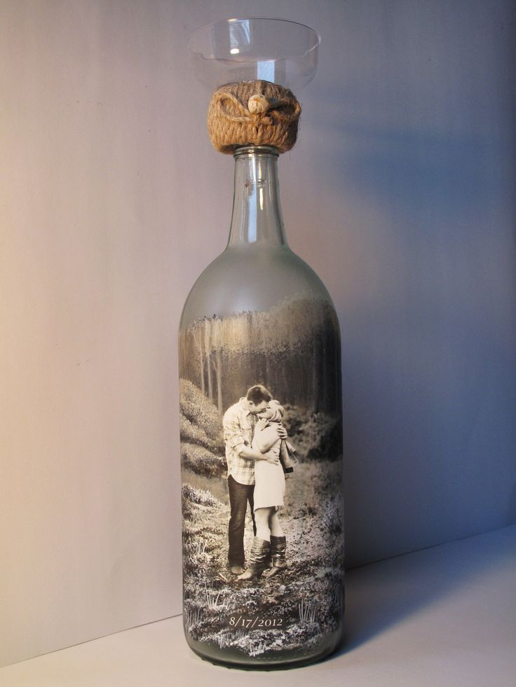 Personalized Sand Ceremony Bottle, Custom Order Hand Painted Wine Bottle With Your Photo, Engagement Gift, Wedding Gift, Anniversary Gift. $65.00, via Etsy.