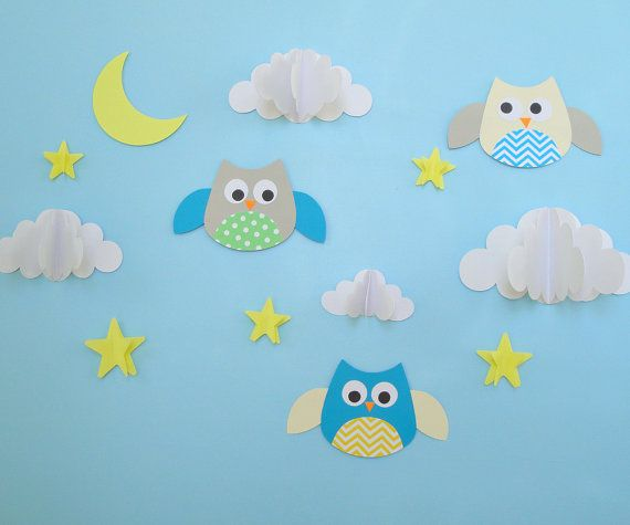 Owls And Clouds 3D Wall Decals Owl Wall Art Wall от Goshandgolly
