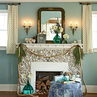 Oyster mantel - Coastal Living