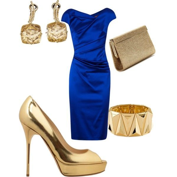 Royal blue dress and gold shoes