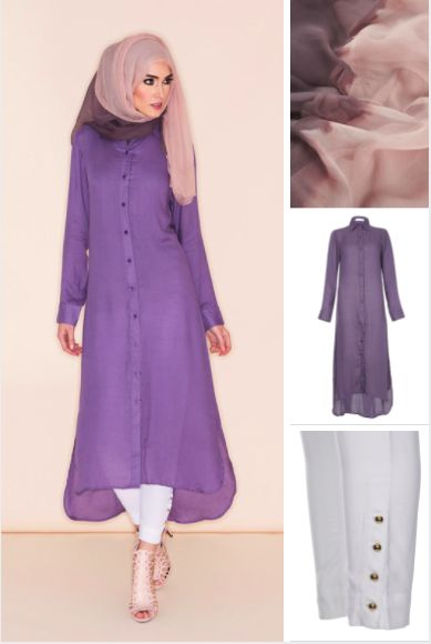Colour block your summer closet with Perfect Purple, a soft cotton crepe, comfortable and chic, tone down with Gold Button Trousers White and pair with our chiffon hijab in Pink & Taupe