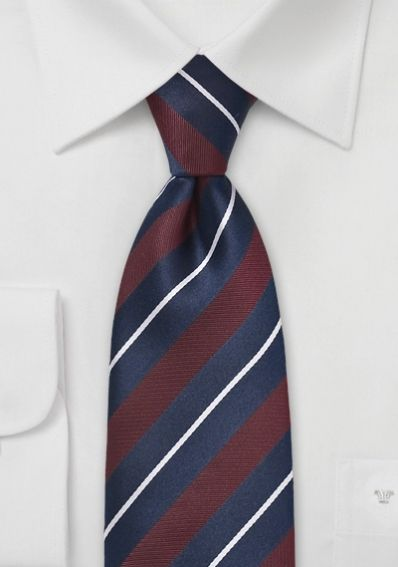 Krawatte Streifendessin nachtblau weinrot