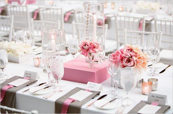 table blanc gris et rose