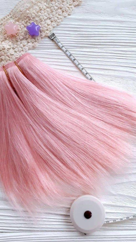 mohair weft straight Bright Pink, doll hair, Blythe hair, waldorf doll hair, dollmaking
