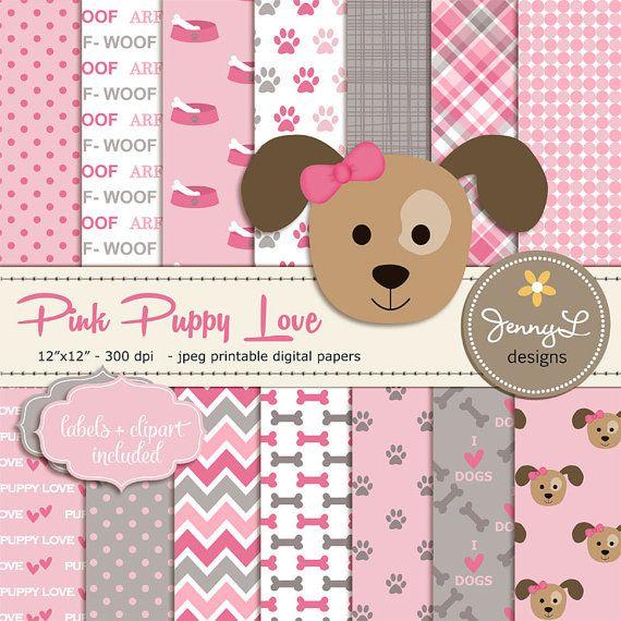 Rosa y gris cachorro perro, niña perro Digital papeles, Pet papel Digital, imágenes prediseñadas de perro, patas de papel de Scrapbooking, papel Digital Animal, amor de cachorro
