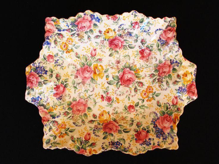 Vintage James Kent Chintz Chelsea Sweet Meat Dish with Rosalynde pattern by ArtVintageCraftShop on Etsy
