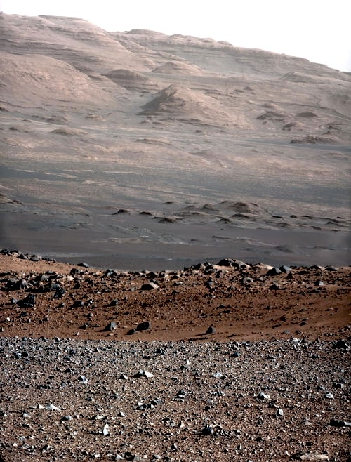 This was released just days ago (27 Aug, 2012). It's the base of Mt. Sharp on Mars. If you're viewing this today, you are among the first human beings to see this place. Credit: NASA/JPL/MSSS http://mars.jpl.nasa.gov/msl/multimedia/images/?ImageID=4565